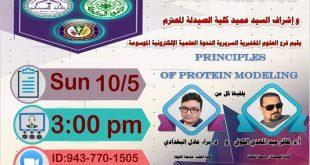 برعاية السيد رئيس جامعة الكوفة المحترم وباشراف السيد عميد كلية الصيدلة المحترم يقيم فرع العلوم المختبرية السريرية ندوة علمية إلكترونية حول principles of protein modeling